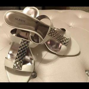 Alfani Gizelle Chalk Jeweled Sandals 11M